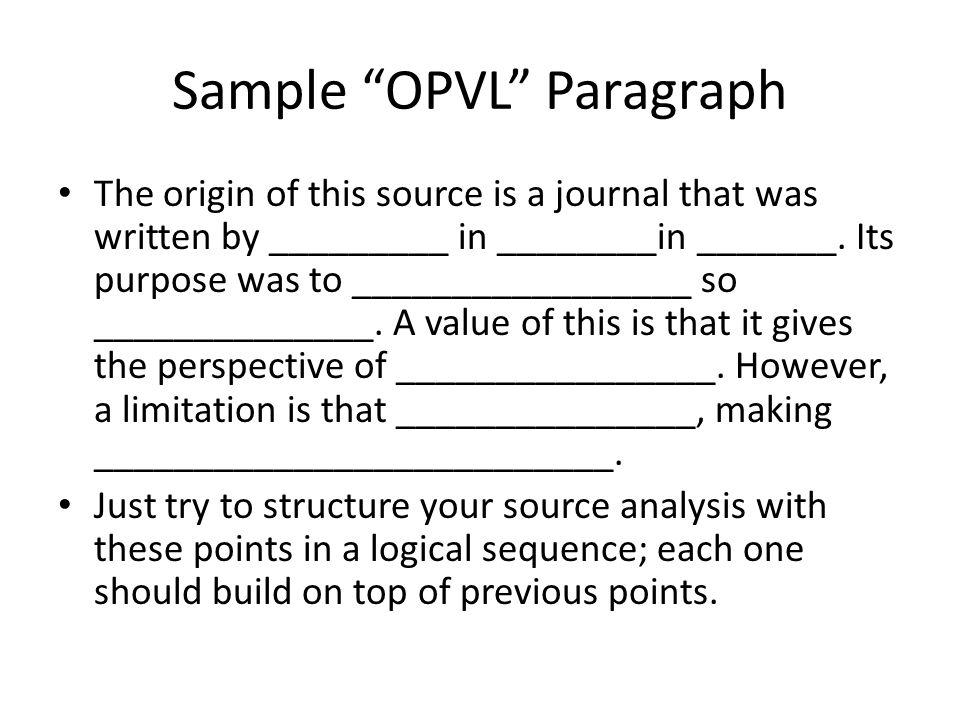 Sample OPVL Paragraph
