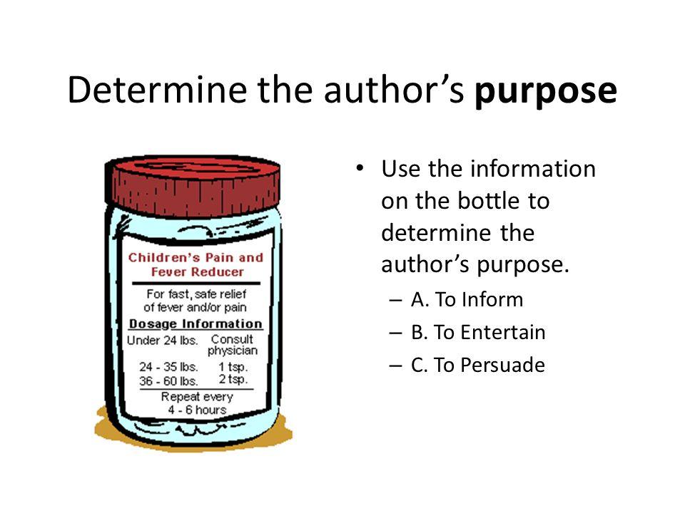 Determine the author's purpose