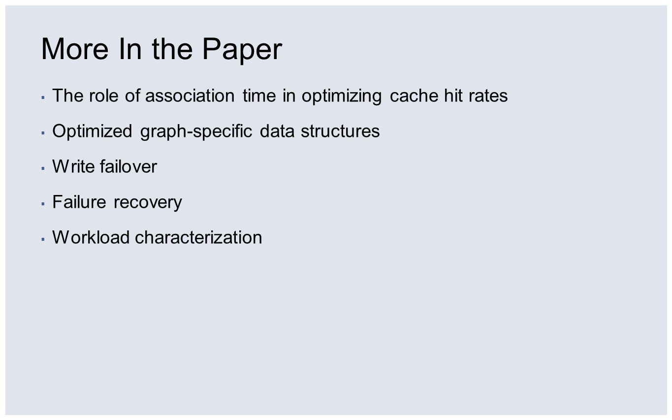 More In the Paper The role of association time in optimizing cache hit rates. Optimized graph-specific data structures.