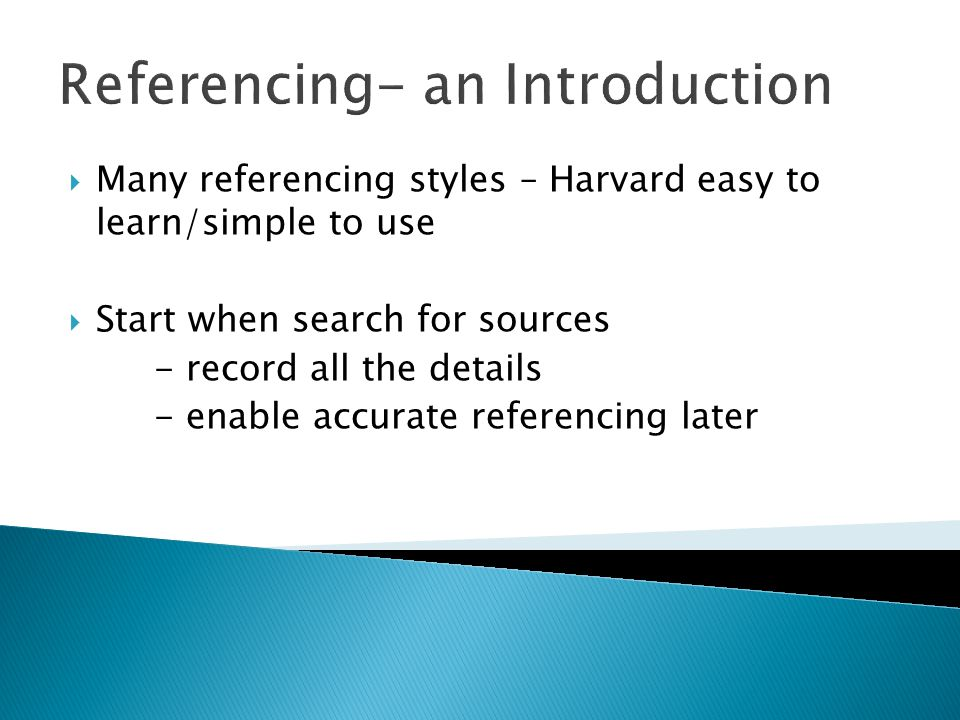 Referencing- an Introduction