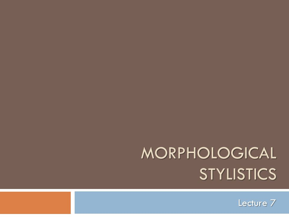 Morphological Stylistics