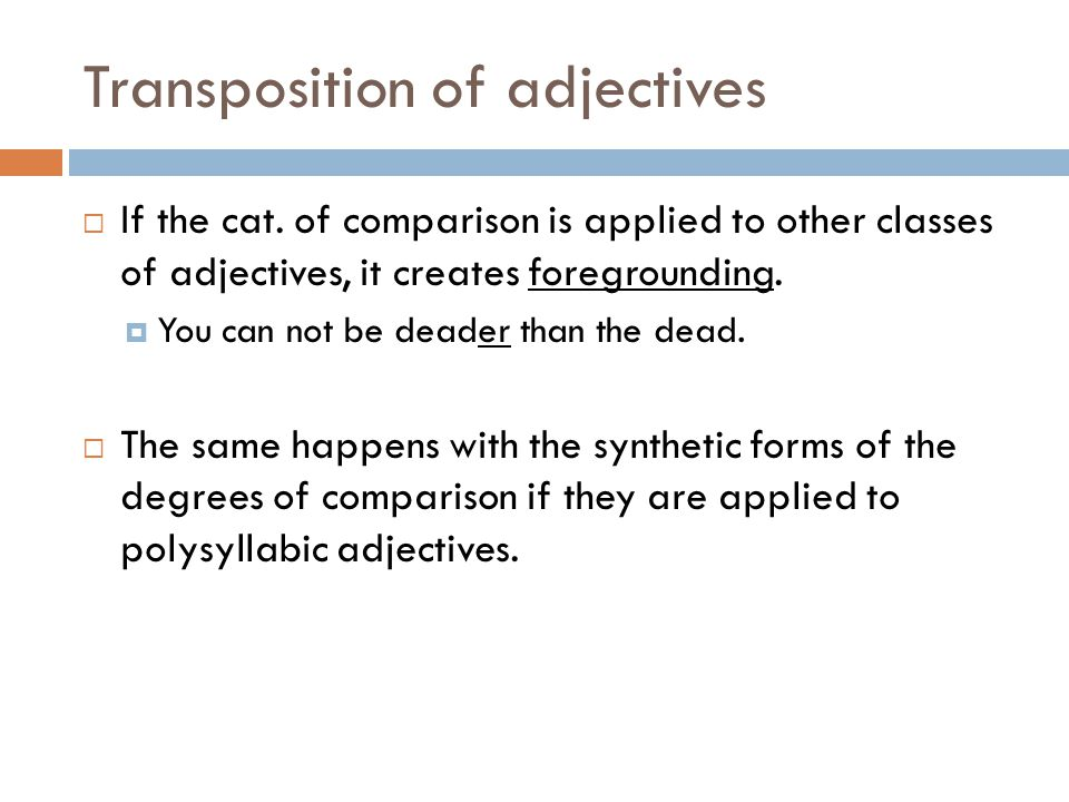 Transposition of adjectives
