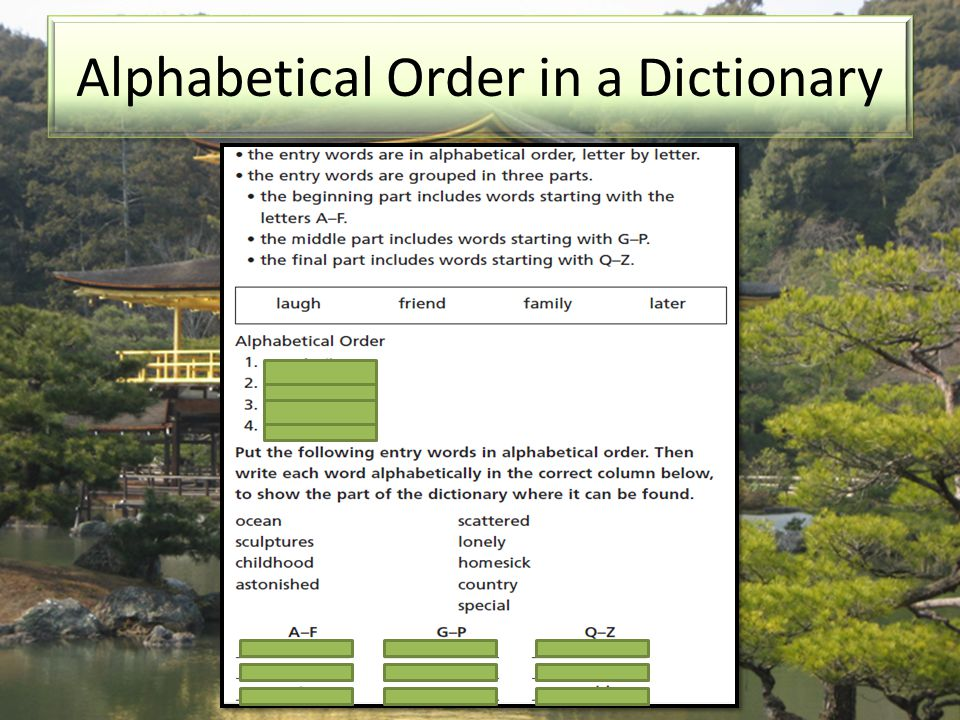 Alphabetical Order in a Dictionary