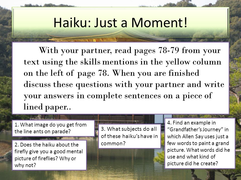 Haiku: Just a Moment!