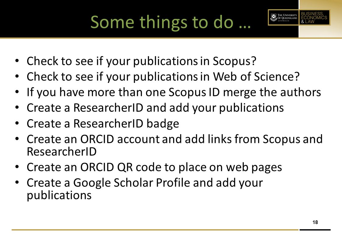 Some things to do … Check to see if your publications in Scopus