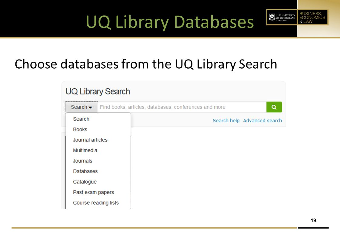 UQ Library Databases Choose databases from the UQ Library Search