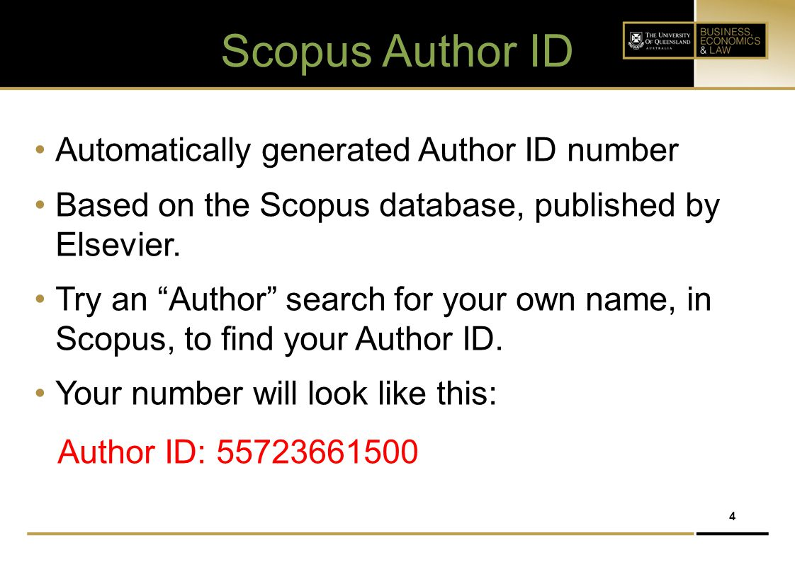 Scopus Author ID Automatically generated Author ID number