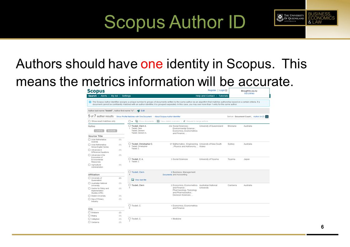 Scopus Author ID Authors should have one identity in Scopus.