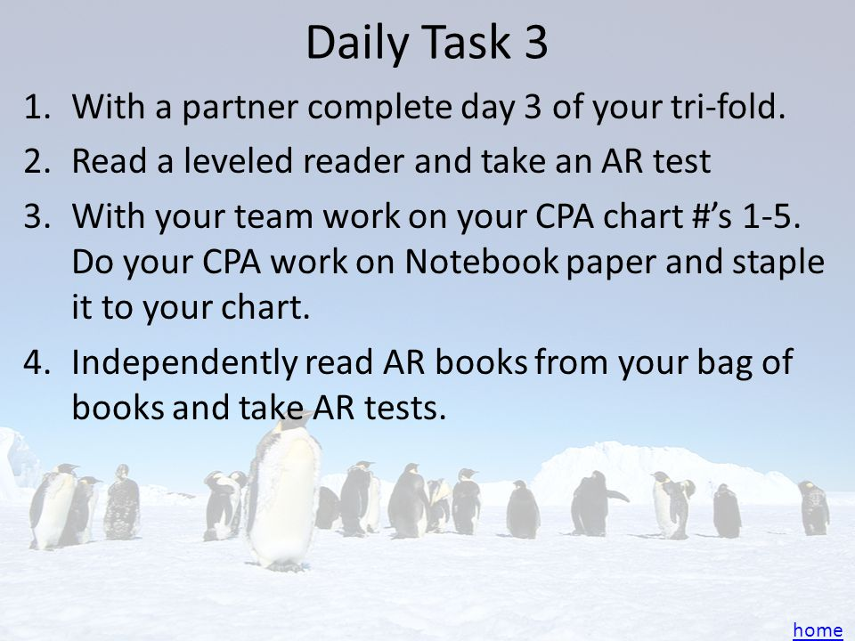Daily Task 3 With a partner complete day 3 of your tri-fold.
