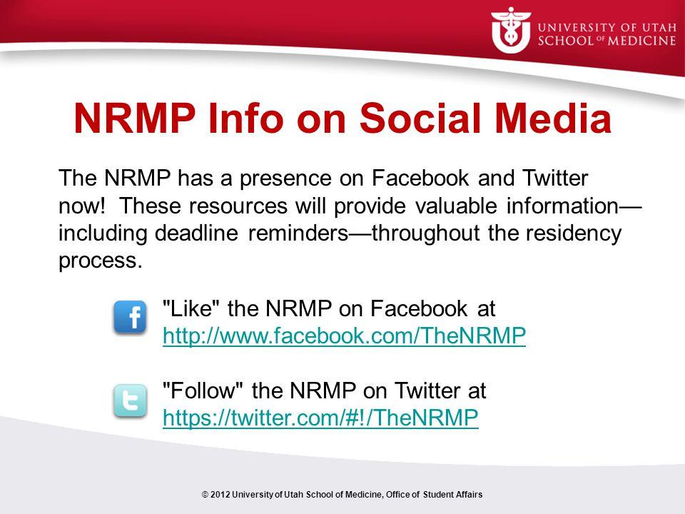 NRMP Info on Social Media