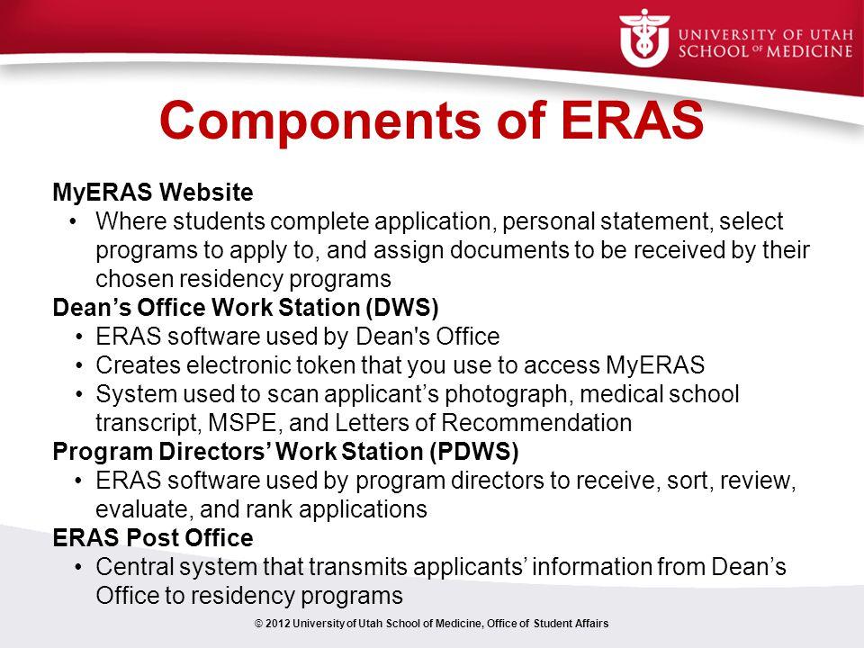 Components of ERAS MyERAS Website