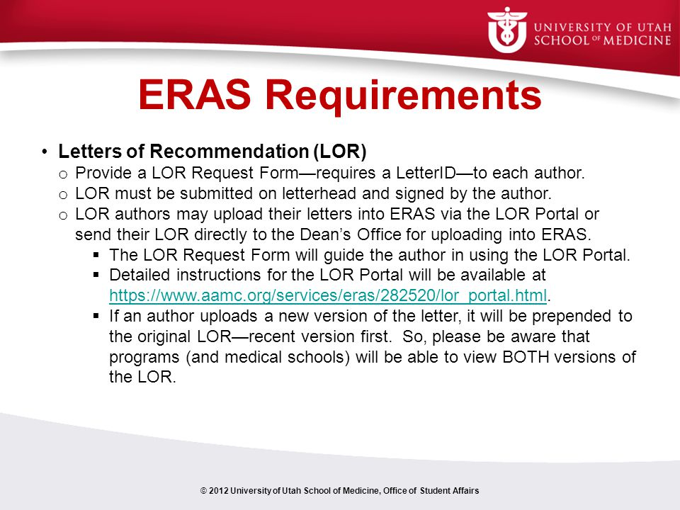 ERAS Requirements Letters of Recommendation (LOR)