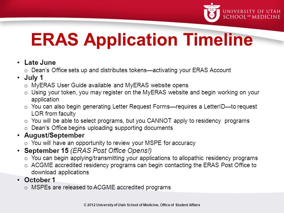 ERAS Application Timeline