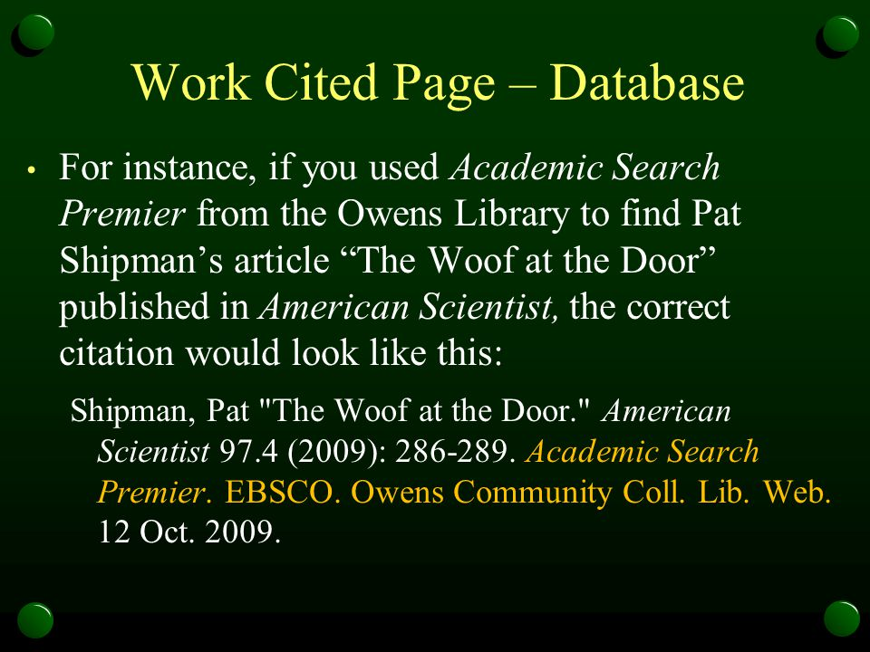 Work Cited Page – Database