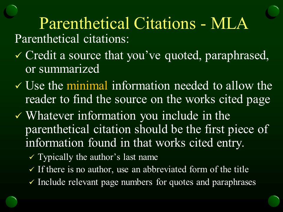 Parenthetical Citations - MLA