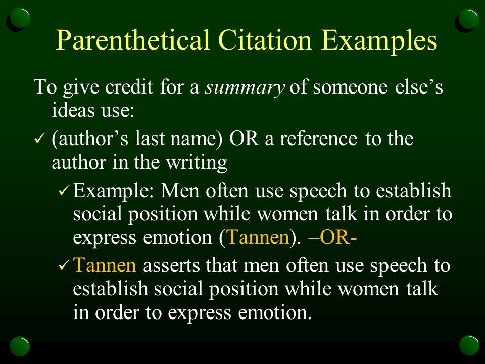Parenthetical Citation Examples