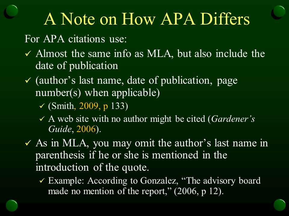 A Note on How APA Differs