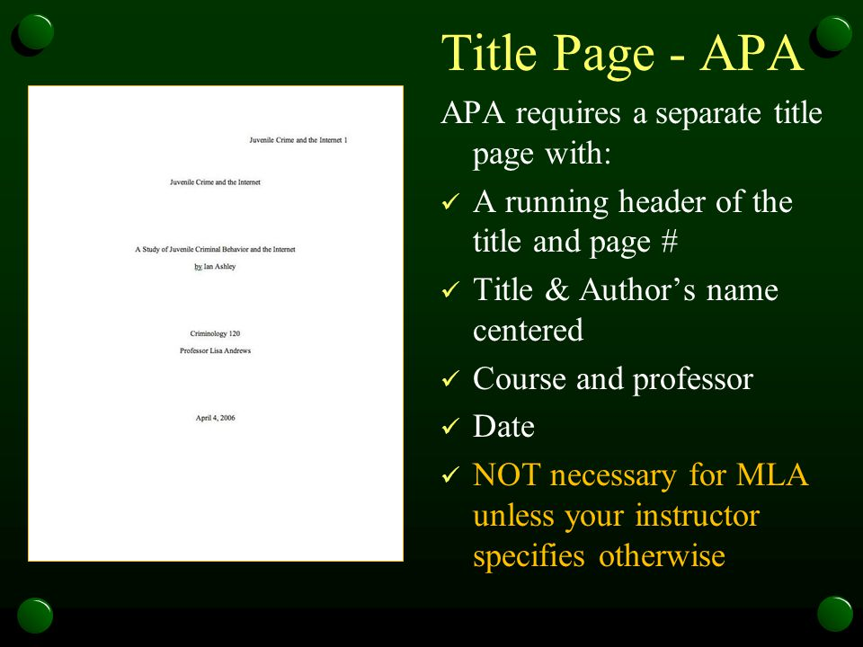 Title Page - APA APA requires a separate title page with: