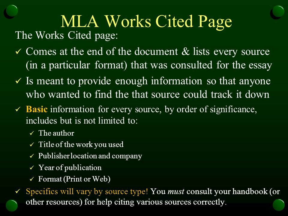 MLA Works Cited Page The Works Cited page:
