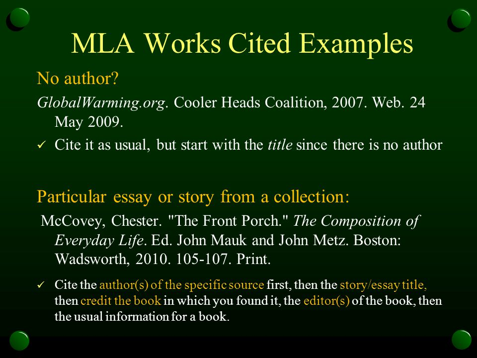 mla citing essay in a book Citing sources in mla format 8th ed: citing two or more sources in one in-text citation an essay reprinted from a book.