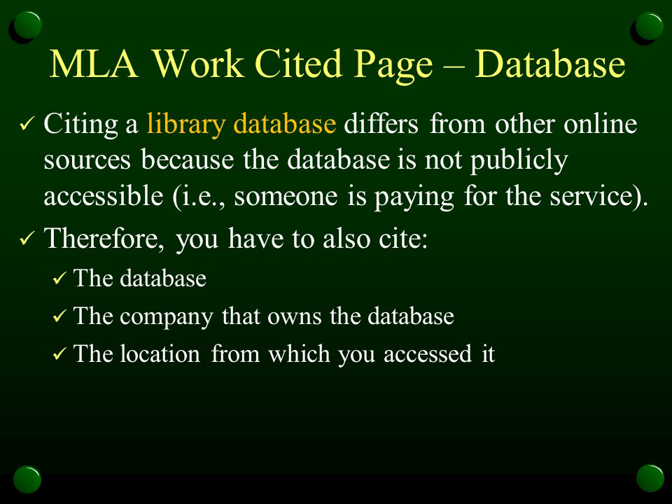 MLA Work Cited Page – Database
