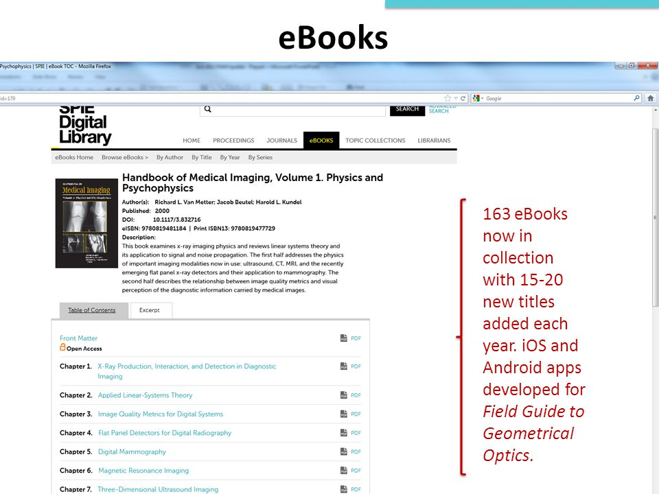eBooks 163 eBooks now in collection with 15-20 new titles added each year.