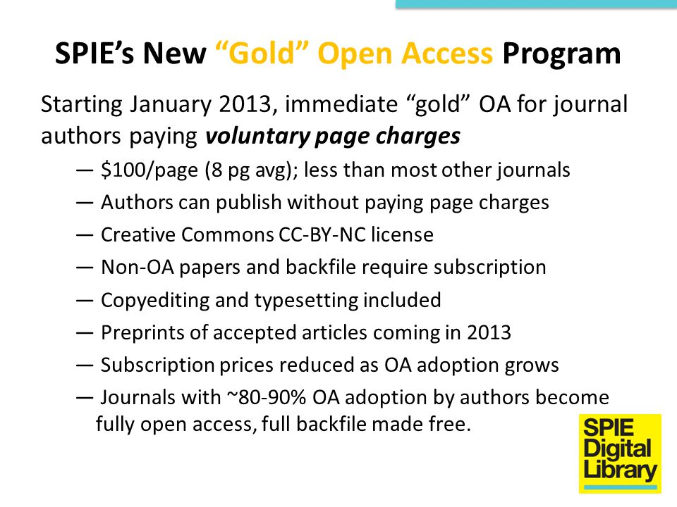 SPIE's New Gold Open Access Program