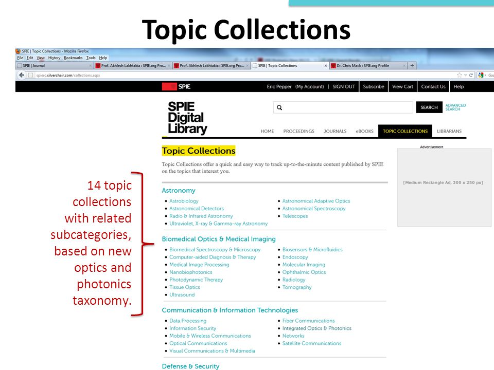 Topic Collections 14 topic collections with related subcategories, based on new optics and photonics taxonomy.