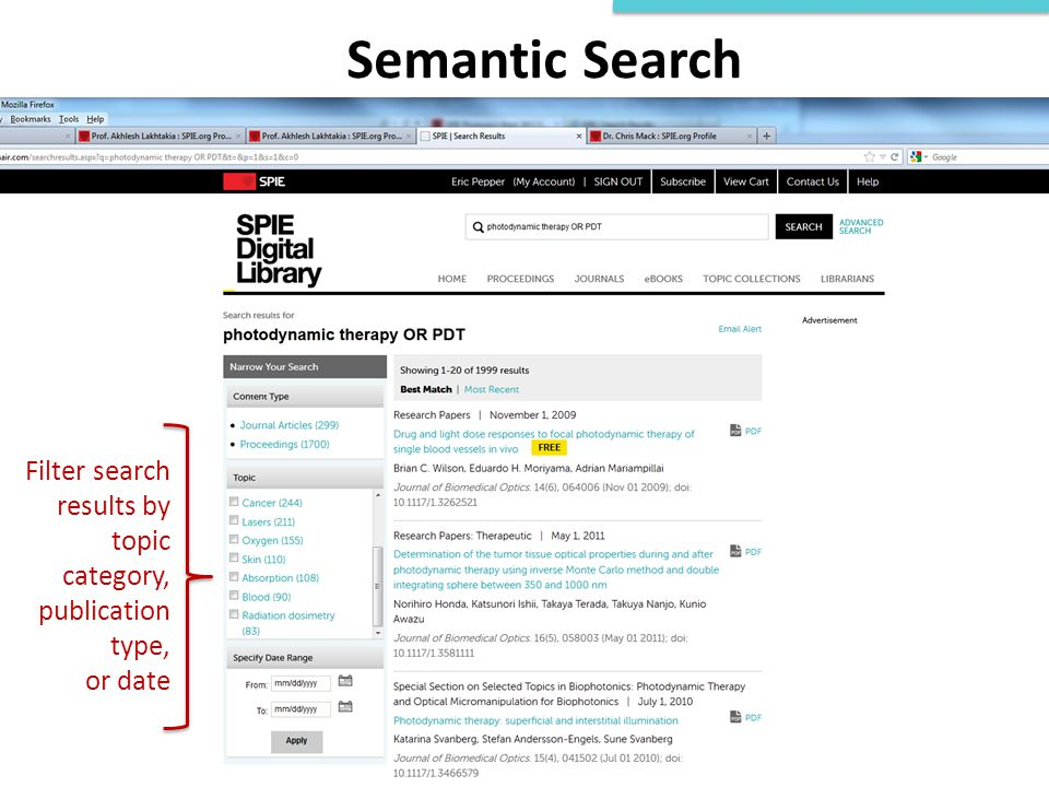 Semantic Search Filter search results by topic category, publication type, or date