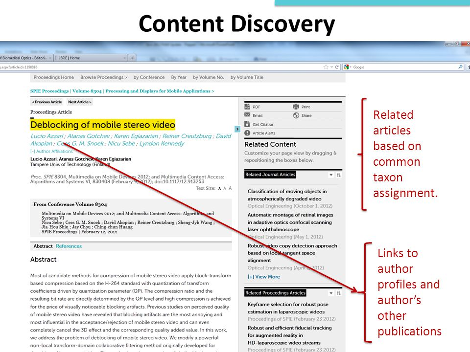 Content Discovery Related articles based on common taxon assignment.