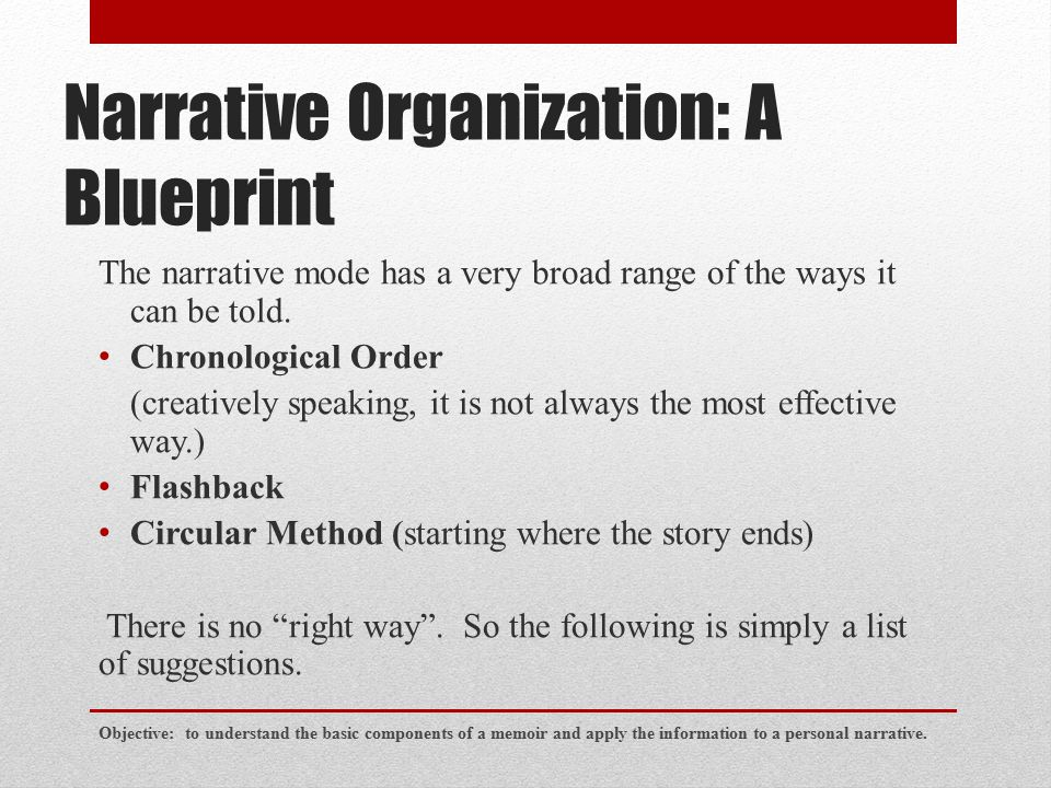 Narrative Organization: A Blueprint