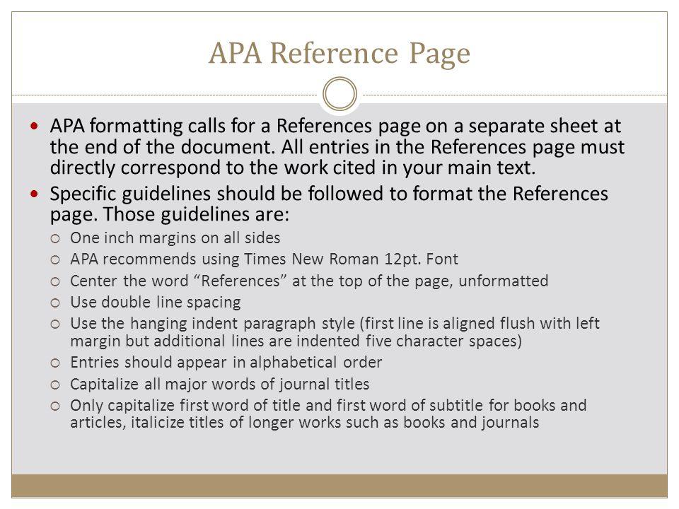 references page apa format
