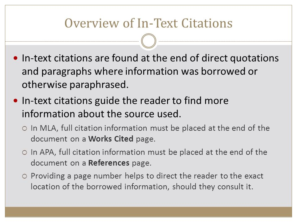 Overview of In-Text Citations