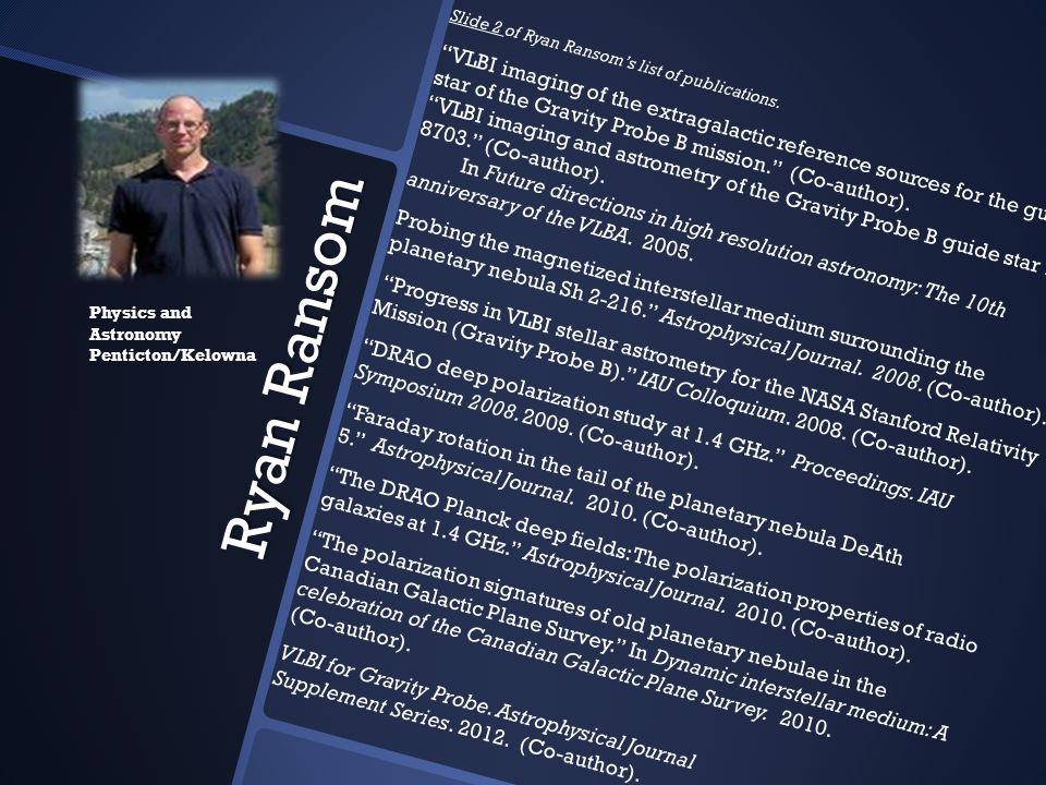 Slide 2 of Ryan Ransom's list of publications.