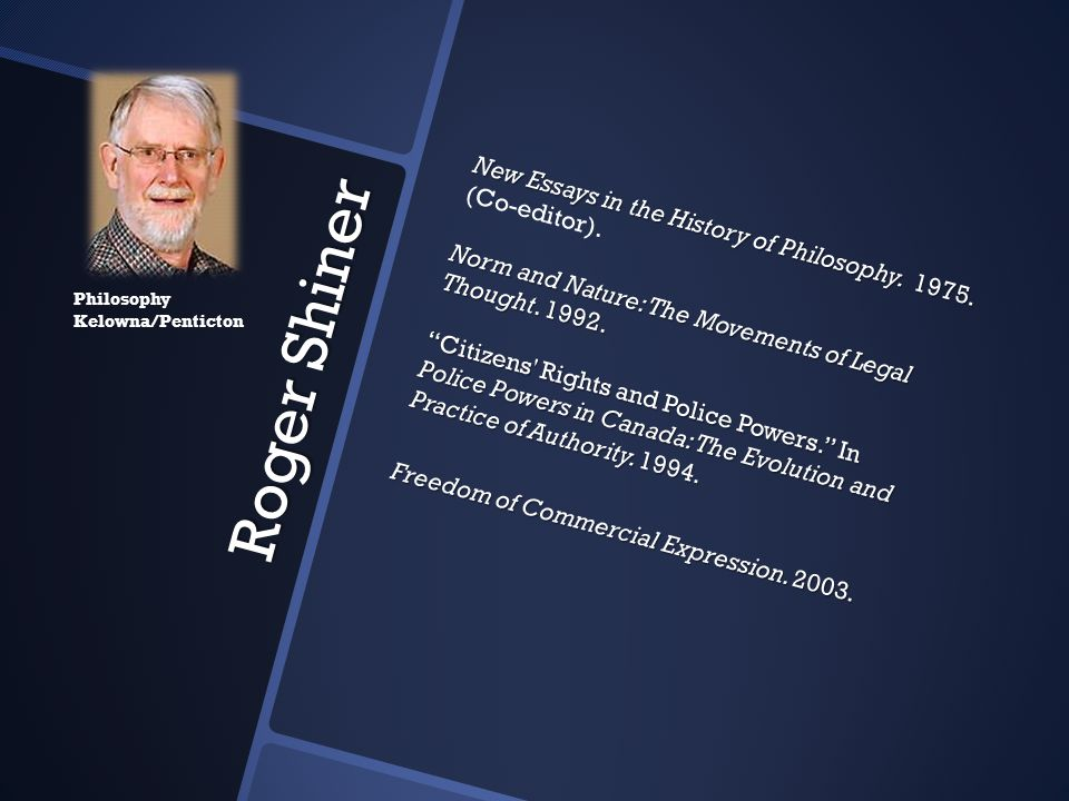 New Essays in the History of Philosophy. 1975. (Co-editor)