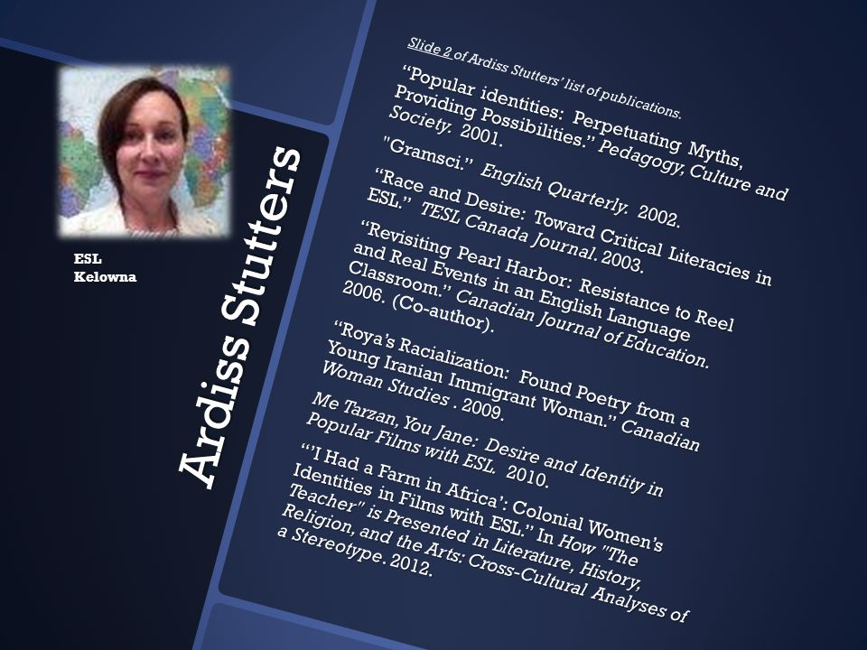 Ardiss Stutters Slide 2 of Ardiss Stutters' list of publications.