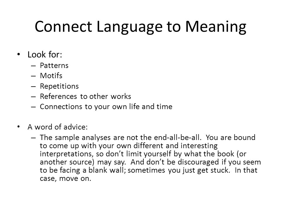 Connect Language to Meaning