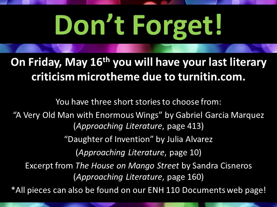 Don't Forget! On Friday, May 16th you will have your last literary criticism microtheme due to turnitin.com.