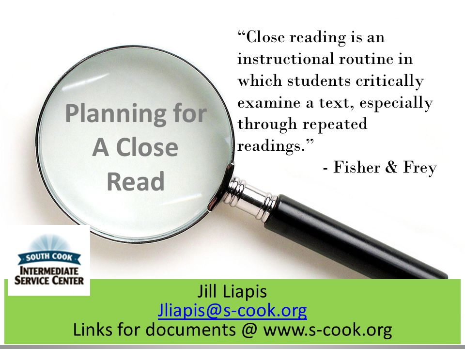 Planning for A Close Read