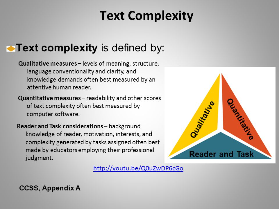 Text Complexity Text complexity is defined by: