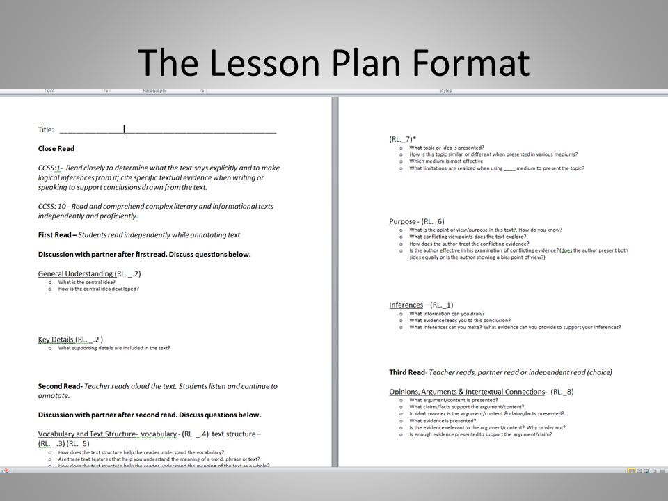 The Lesson Plan Format