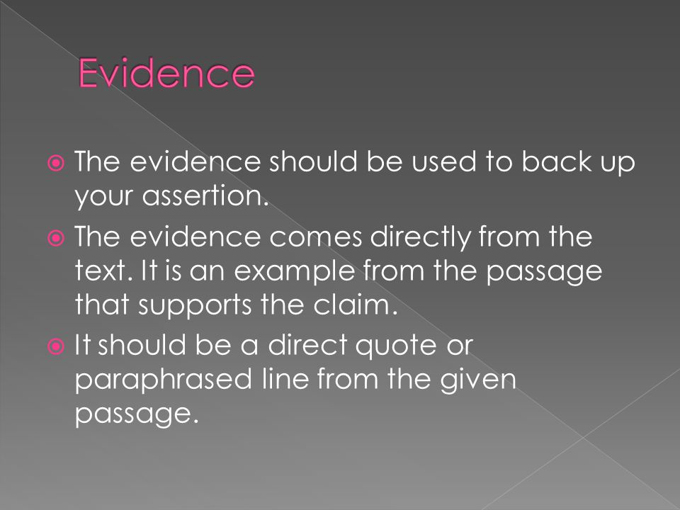Evidence The evidence should be used to back up your assertion.