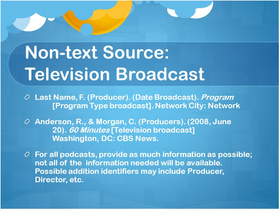 Non-text Source: Television Broadcast