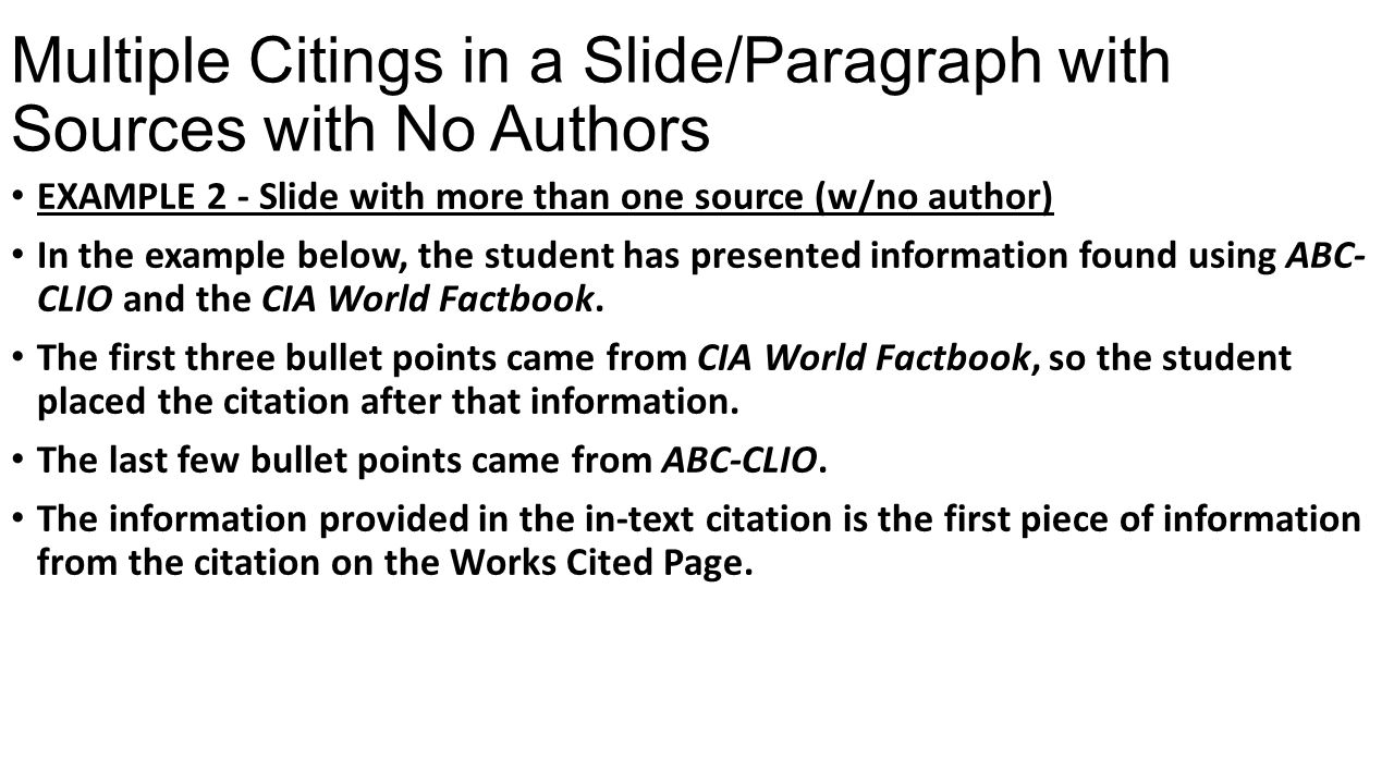 Multiple Citings in a Slide/Paragraph with Sources with No Authors