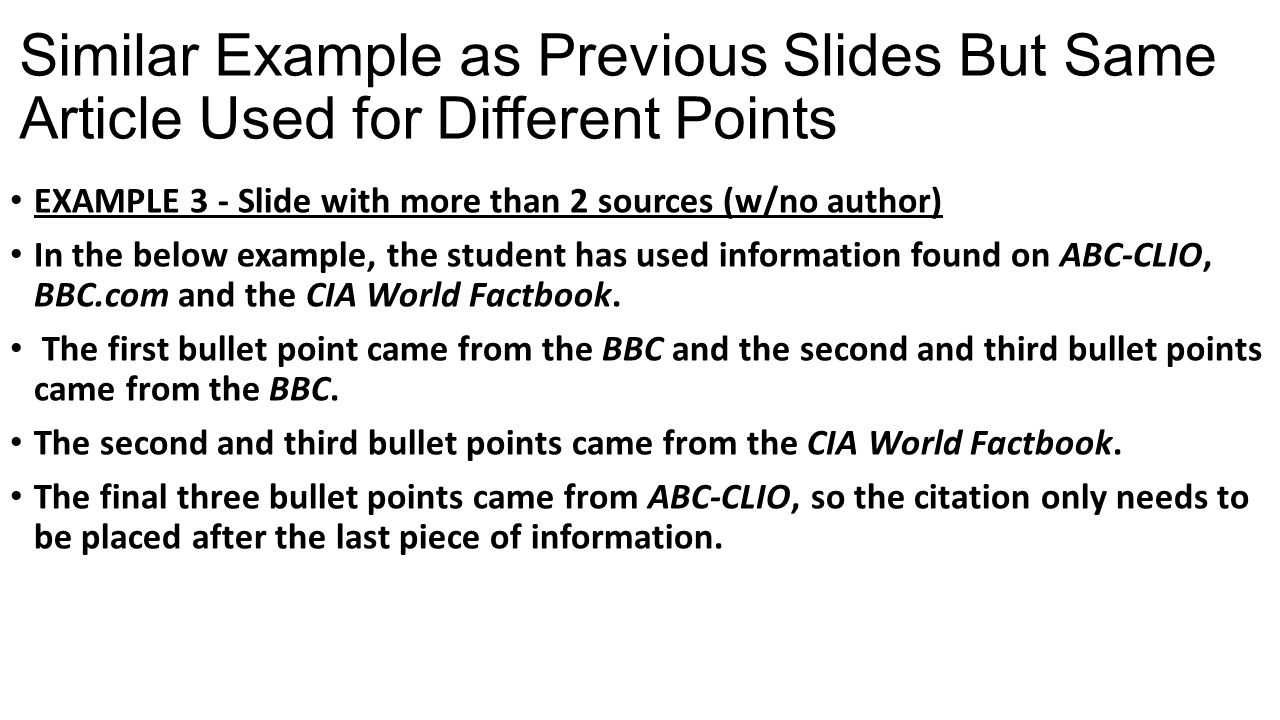 Similar Example as Previous Slides But Same Article Used for Different Points