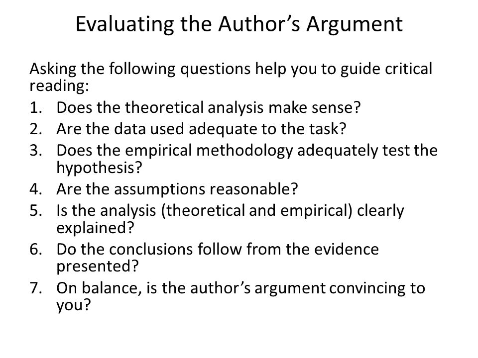 Evaluating the Author's Argument