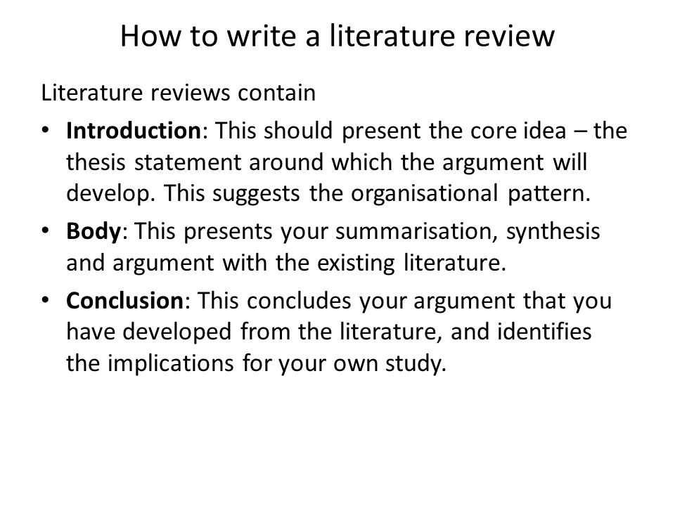 The Literature Review: A Few Tips On Conducting It