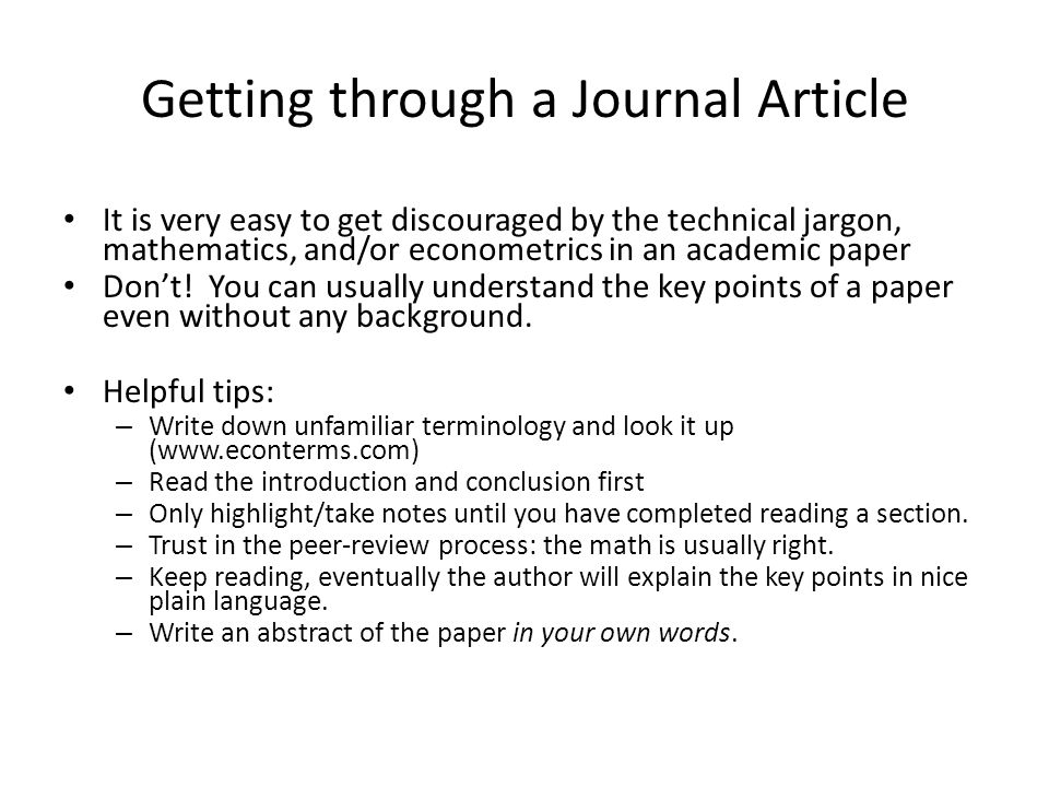 Getting through a Journal Article
