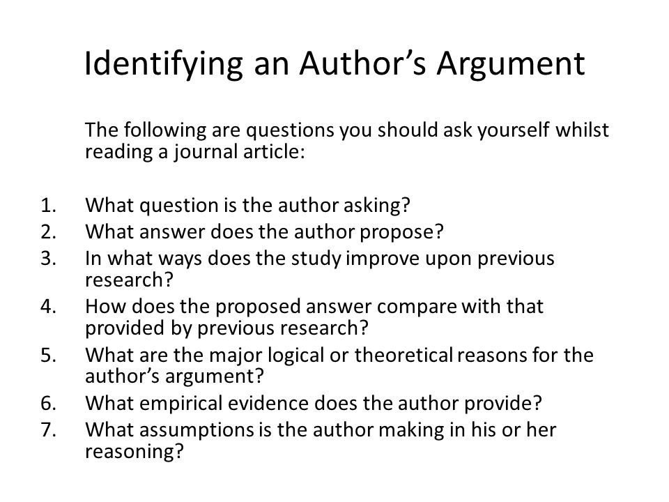 Identifying an Author's Argument