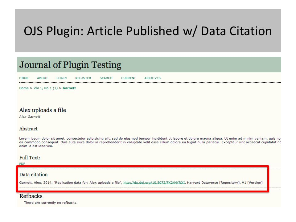 OJS Plugin: Article Published w/ Data Citation